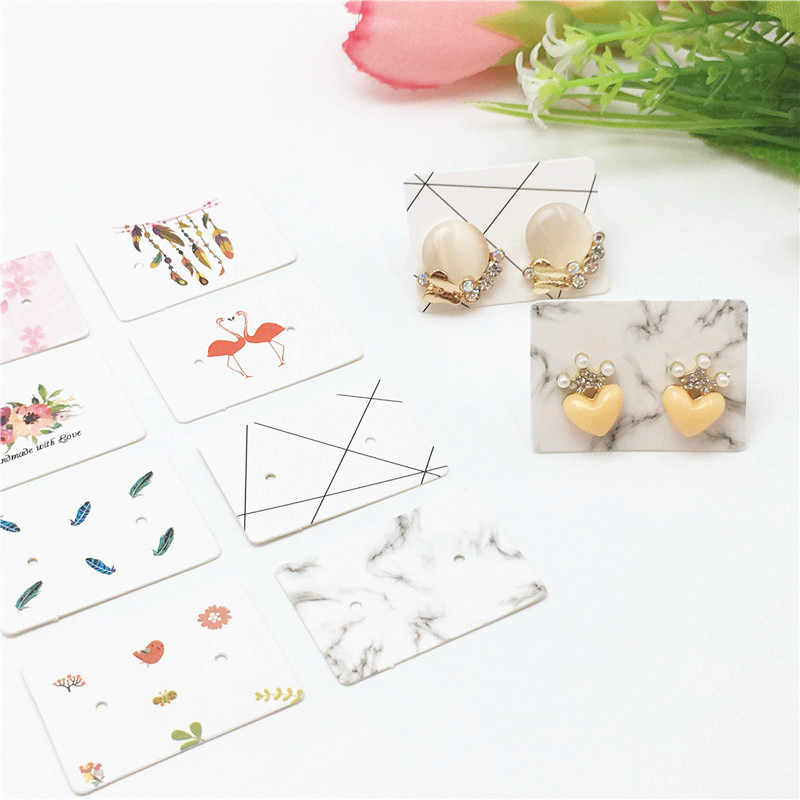 50pcs New Type Printed mini Lovely Earring Packing Tag 35*25mm white Jewelry Stud Ear display Card Price Tag Card