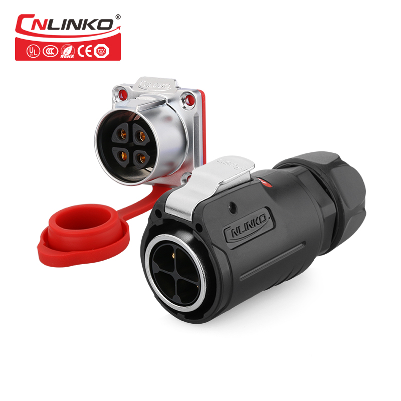цена на CNLINKO M24 Plastic 4 Pin 25A IP67 Waterproof Electrical Panel Welding Male Female Plug Socket Connector