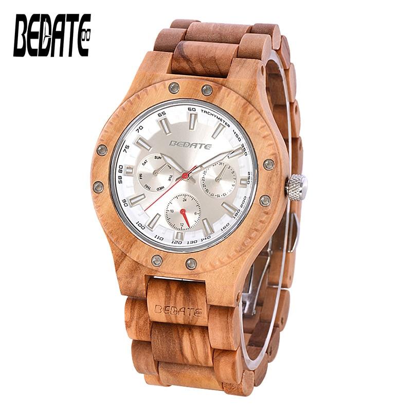Montre en bois pour hommes avec cadran rond Vintage montres à Quartz rouge bracelet en bois mouvement japonais pour montres en bois boîte pour cadeau 144A