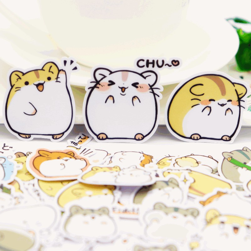 39pcs Kawaii Self-made  Hamster Stickers For Car Styling Bike Motorcycle Phone Book Travel Luggage Toy Funny Sticker Bomb Decals