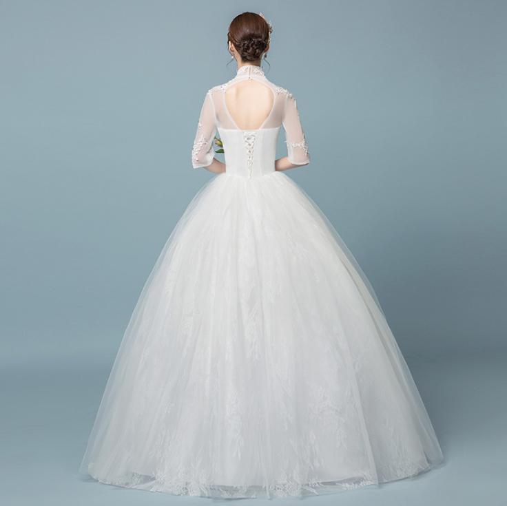 VAMOLASC paillettes col haut dentelle Appliques robe de bal robes de mariée Illusion demi manches dos nu robes de mariée - 2