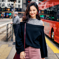 ARTKA 2018 New City Series Female Winter Fake Two Pieces Patchwork Sweater Sexy Off the Shoulder Pullovers Sweater JS17025