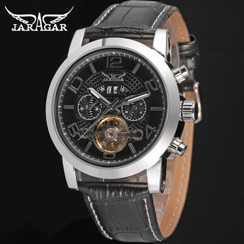 JARAGAR Classic Tourbillon Men Watches Top Brand Luxury Automatic Uhren Silver Case Calendar Male Clock Mechanical Wristwatch jaragar top brand tourbillon automatic mechanical diamond dial clock wtaches men classic luxury business leather wristwatch uhr