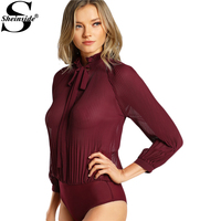 Sheinside Frilled Collar Tie Back Pleated Work Bodysuit Women 2017 Ladies Burgundy Collar Neck Long Sleeve