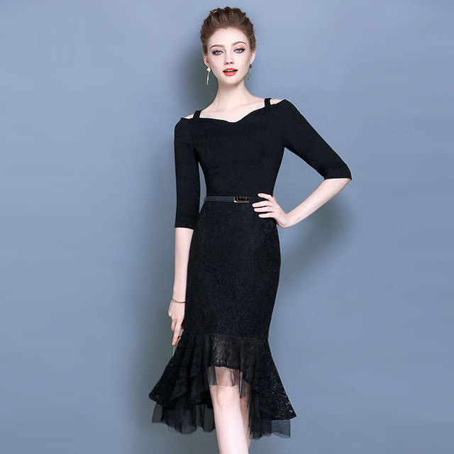Spring New Design Luxury Little Black Dress Elegant Slash Neck Half