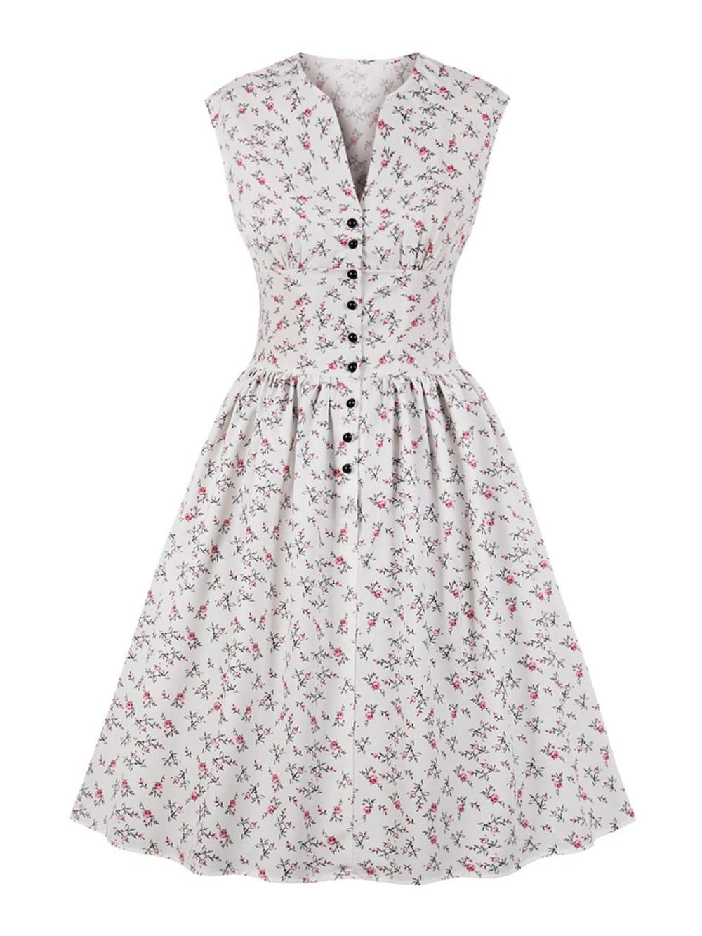 52dfab1665 ZAN.STYLE 2019 Women Summer Vintage Dress Floral Print V-Neck Sleeveless  Pin Up Vestidos Button Fly Party Rockabilly Retro Dress