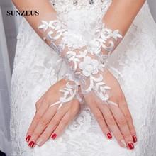 Guantes de novia de la longitud de la ópera Guantes de encaje blanco sin dedos para mujeres Guantes de novia de las flores gants pour mariage SG10