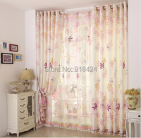 Size:1.5*2.7m Finish Products Gril's Room Pink Curtains Haute couture rustic curtain,Flower Design window curtain.Free Shipping.