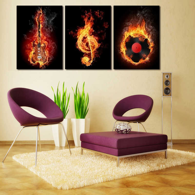 3 Pieces Abstract music piano print canvas painting Photo print painting Prints Wall Pictures for living Room Picture