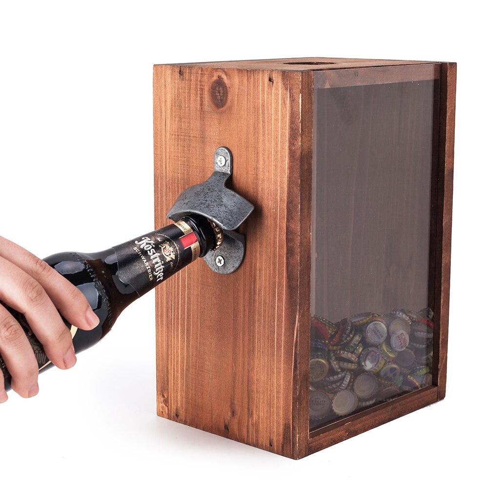 Boîte de chapeau de bière avec ouvre-bouteille classique en bois rustique debout ou mur montable ouvre-bouteille de barre en métal avec le collecteur de chapeau de bière