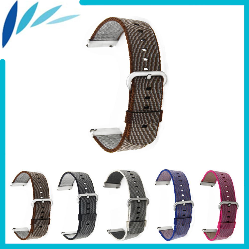 Nylon Watch Band 22mm for Fossil Stainless Steel Pin Clasp Watchband Strap Wrist Loop Belt Bracelet Black Brown Red Grey Purple stainless steel watch band 22mm for pebble steel 2 butterfly clasp watchband strap wrist loop belt bracelet black silver tool