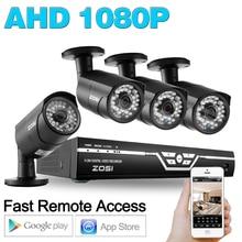 ZOSI 1080 P Видеонаблюдения системы видеонаблюдения 4CH 2000TVL DVR Система Комплект 4 ШТ. 2.0MP ИК Ночного Видения Камеры 4 Канала Комплекты видеонаблюдения