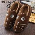 Lin rey mujeres deslizadores de la historieta de hello kitty zapatos de interior zapatillas de casa de invierno cálido zapatos para adultos felpa pantufas mocasines