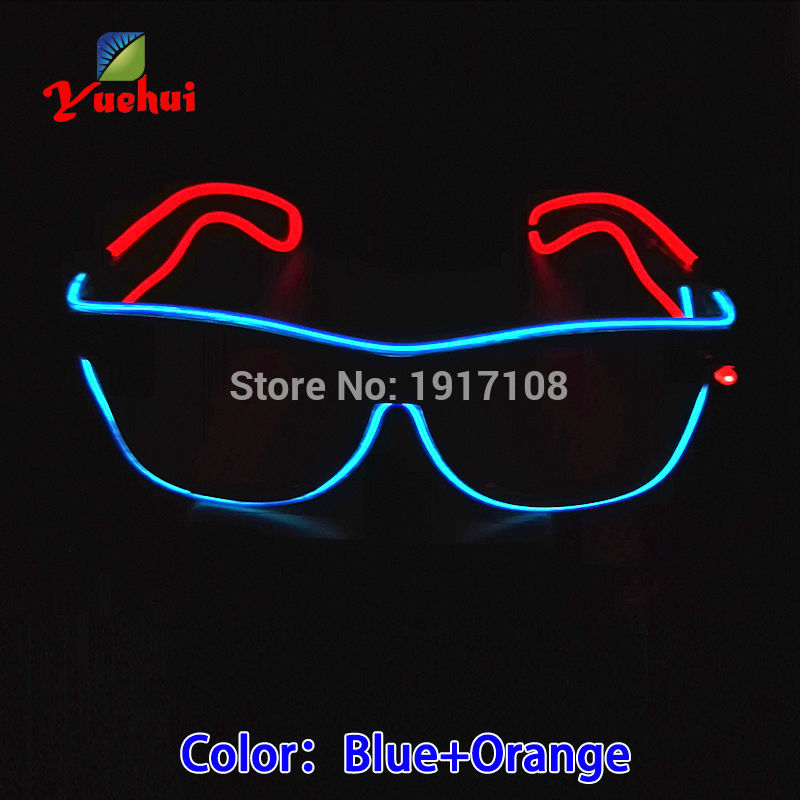 Handmade Powered By DC-3V EL Wire 5 style Flashing Double color Glasses Cold Light Tube Rope Flexible Birthday Party Decoration