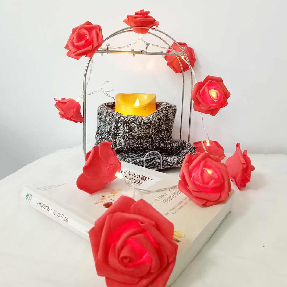 Classic rose garland led string light, Handmade floral holiday string lights, Wedding party light decoration,Flower arrangement