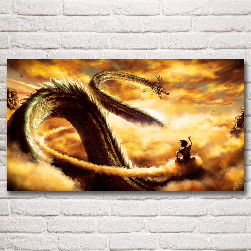 ₪Goku Ride Shenron Dragon Ball Z New Anime Art Silk Fabric Poster ...