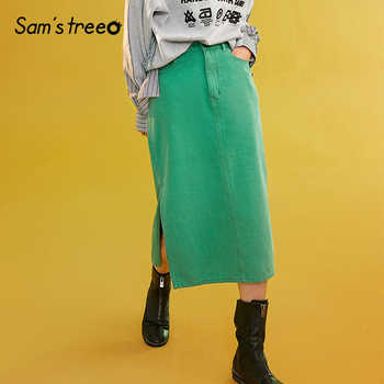 Sams Tree Women Denim Skirts Summer 2019 Vintage Solid Straight Office Lady Long Skirt Pencil Mid-Calf Femme High Waist Bottoms - DISCOUNT ITEM  49% OFF All Category