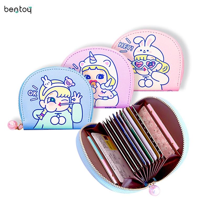 2019 Bentoy Short CartoonWomen Cute Cat Hologram Small Coin Purse Pu Leather Zipper Card Holder Wallet Money Bag Carteira Homens