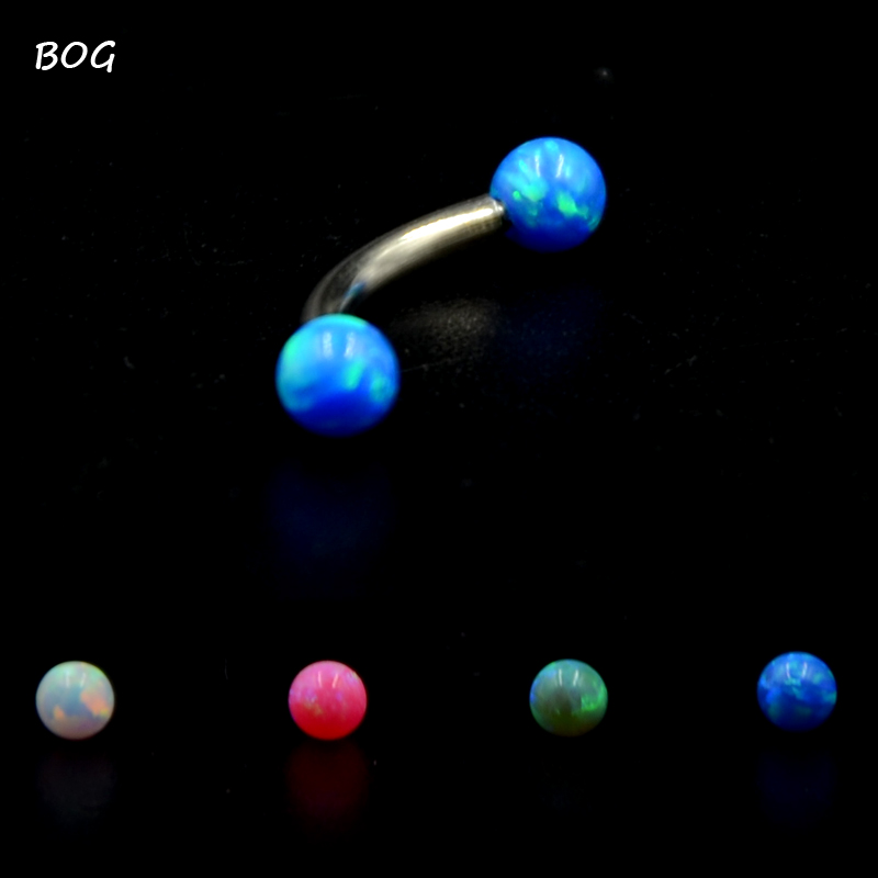 1 Pc Surgical Steel Curved Barbell Opal Stone Eyebrow Ring Ear Anti Tragus Helix Rook Bridge Web Piercing Lip Stud  Body Jewelry