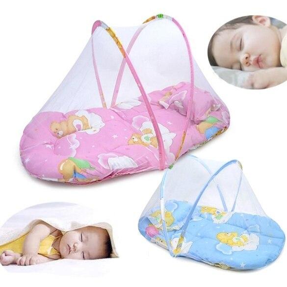 Baby Baby Bed Luifel Klamboe Roze/blauw Katoen Gevoerde Matras Pillow Tent Doorwaadbare Draagbare