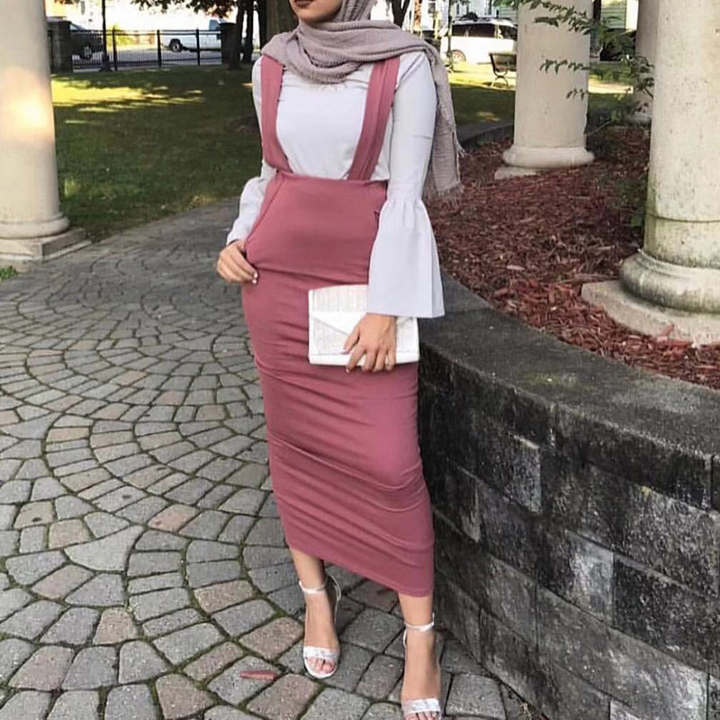 2019 Sexy Women Bodycon Long Skirt Black High Waist Tight Maxi Skirts  Muslim Party Wear Elegant Strap Pencil Skirt Casual Skirts-in Skirts from  Women s ... 1c2f373b8311
