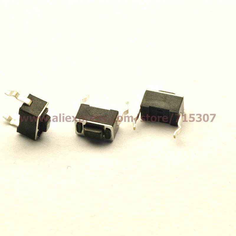 PHISCALE 20pcs Import Black Tactile Push Button Switch 3*6*4.3mm Micro Switch dip 2pin