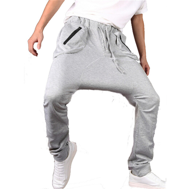 Homens da moda cintura elástica calças skinny corredores virilha hip hop calças harém dança causal meados cintura esticada roupas cj144