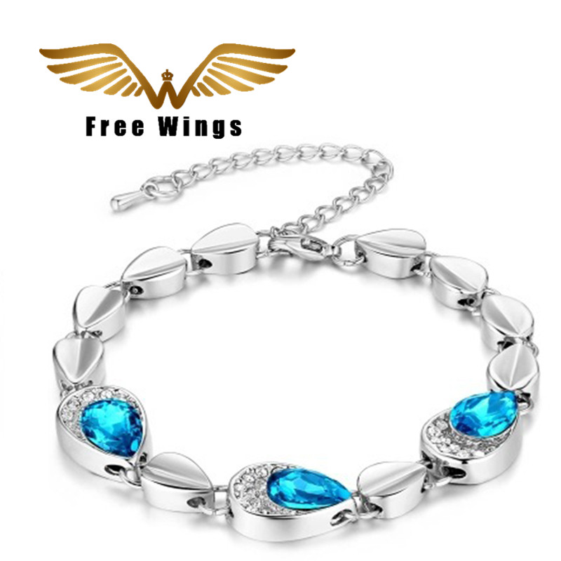 Hand to run rivers and lakes new products flash crystal bracelet fashion water droplets bracelet my heart eternal