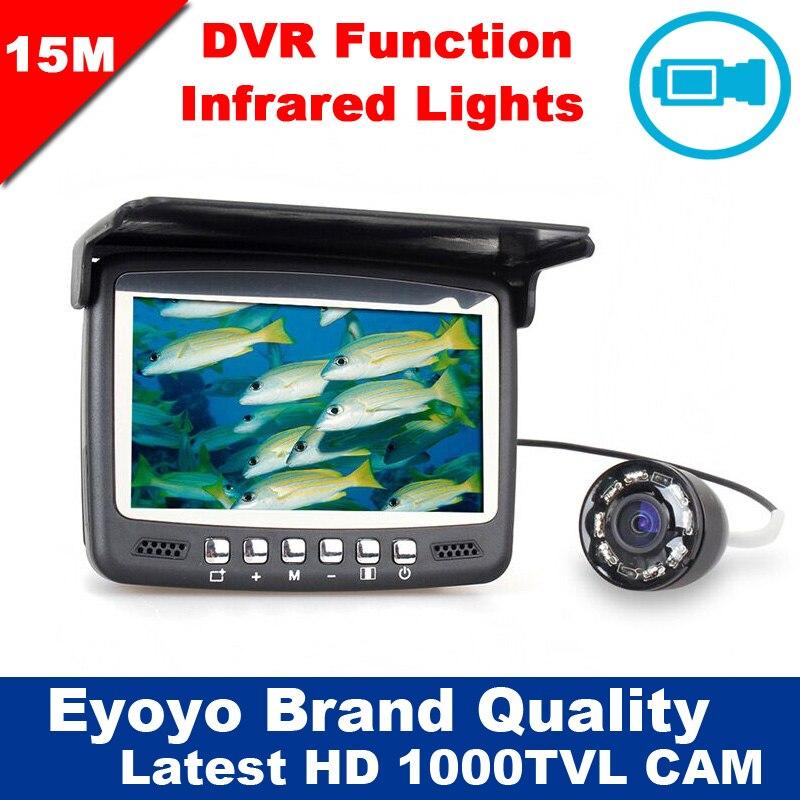 Eyoyo D'origine 15 M Infrarouge Fish Finder Sous-Marine 1000TVL Glace De Pêche Caméra Vidéo Enregistrement DVR 4.3 moniteur 8 IR LED Pare-Soleil