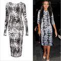 Vestido de la mujer del o-cuello media manga blanco Leopard lápiz Casual rodilla longitud tallas grandes mujer vestidos Vestido de verano