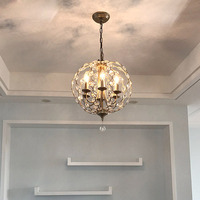 American country wrought iron crystal chandelier simple Nordic porch lighting clubhouse restaurant bar cafe chandelier led light