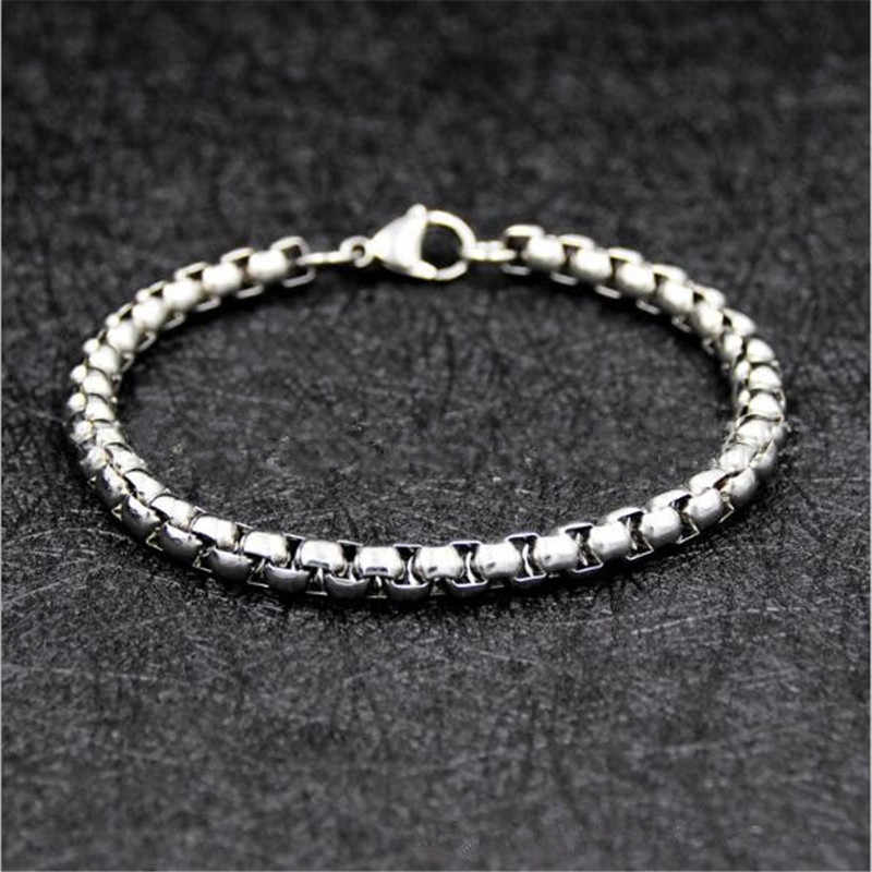Low price wholesale 316L stainless steel 4MM 6MM 21CM chain bracelet & Bangles fashion men's party jewelry drop shipping