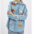 Autumn Denim Women Blouse Shirts Fashion 2016 Dinosaur Sequins Patch Designs Outerwear Turn Down Collar Long Sleeve Tops YD8253