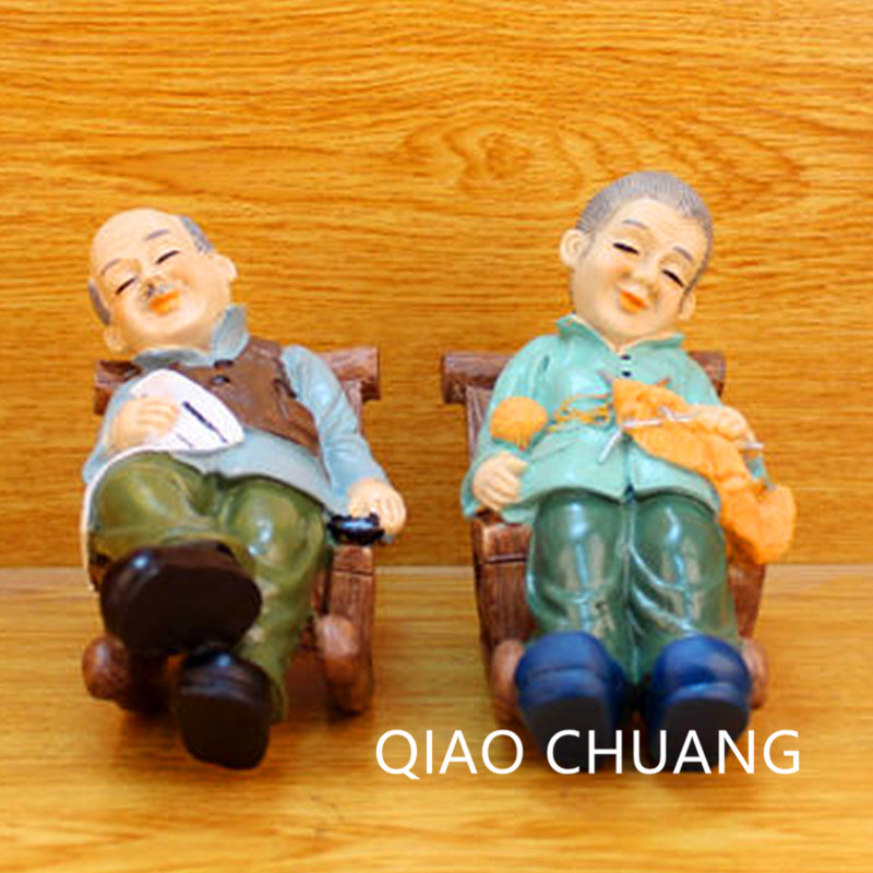 Country Style Husband And Wife Figure Rocking Chair Resin Sculpture Craftwork Wedding Gift Living Room Decorations S461