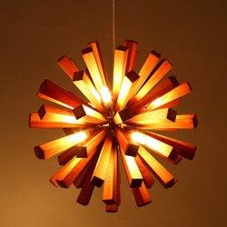 Nordic/japoński kreatywny drewno artystyczny design Loft Led lampa żyrandol do jadalni Foyer kawiarnia Bar Hall Hanglamp zawieszenie