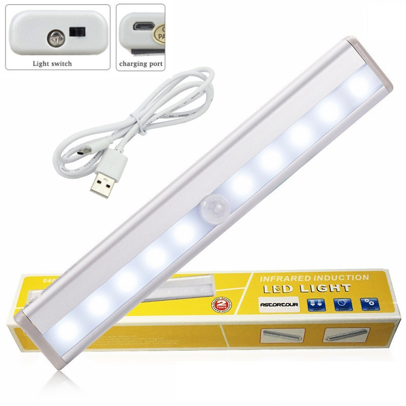 Portable LED Under Cabinet Light USB Charging Motion Sensor Closet Wall lamp Rigid Bar L ...