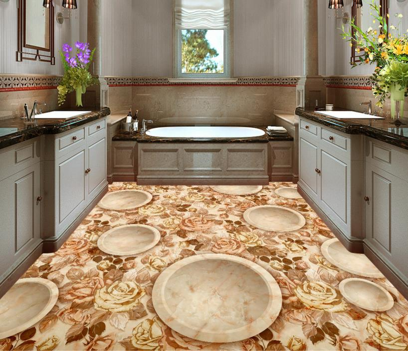 3d Floor Painting Custom Abstract Floral Garden 3d Stereoscopic