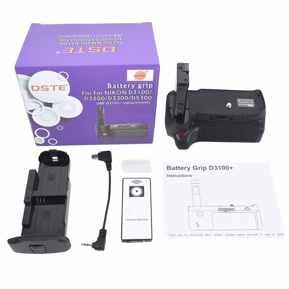 DSTE Multi-Power Vertical Battery Grip + Remote Control for Nikon D3100 D3200 D5300 DSLR Camera