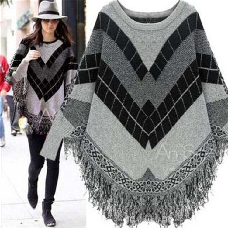 Style Europe Style Office Lady O-neck Casual Woman Knit Sweater Long Sleeve Elegant Cloak Tassel Geometric Female Sweater