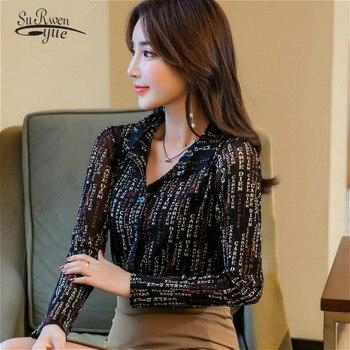af4037ca60d1 Blusas mujer de moda 2019 blusas para mujer botón letra Turn-down Collar  mujer camisas de manga larga talla grande las mujeres 2090 50