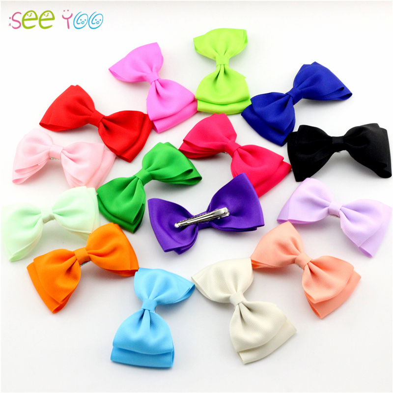 20pcs Seeyoo Girls Grosgrain Ribbon HairBow Baby Top Bows Tie Lovely Children Bowknot Hair clip Boutique Kids Bow headwear 2542 3 5 inch grosgrain ribbon hair bow diy children hair accessories baby hairbow girl hair bows without clip 16pcs lot