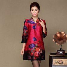 цена New Spring Autumn Women Vintage Casual V-neck Floral Print Dress Slim Three Quarter Sleeve Party Dresses Vestidos Plus Size