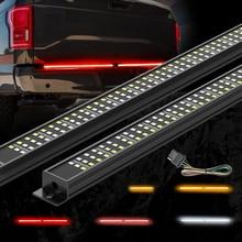MICTUNING Triple Tailgate Light Strip Amber Turn Signals Strobe Red Brake White Reverse Lights for Pickup Trucks Atmosphere Lamp