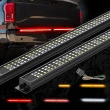 Mictuning 트리플 테일 게이트 라이트 스트립 앰버 턴 신호 스트로브 레드 브레이크 픽업 트럭 용 화이트 리버스 라이트 분위기 램프