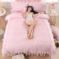 100%Cotton Korean Princess Style Fold Lace Blue Patchwork Design Duvet Cover Bed Sheet Set Pink/Purple/White Girl Bedding Set