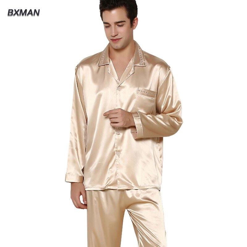 BXMAN Brand Mens Pajamas Hombre Mens Satin Pajamas Rayon Solid Button Turn-down Collar Full Sleeve Men Silk Pajamas