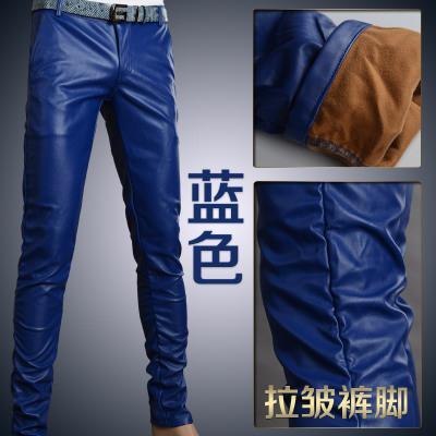 Мотоцикл Клуб Плотно Искусственной Кожаные Штаны Мужчины Горячая Мужская Мода брюки Для Мотоциклов Танцевальные Брюки Для Мужчин Hip Hop Мужчины Брюки - Цвет: blue wrinkle