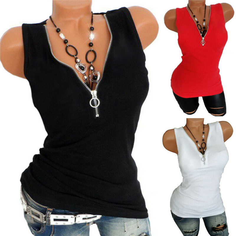 <font><b>2019</b></font> <font><b>Fashion</b></font> Women Summer Casual Sleeveless <font><b>Tops</b></font> Vest Tank T-Shirt <font><b>Sexy</b></font> Zipper V-Neck <font><b>Tops</b></font> Patchwork T-Shirt New Arrival image
