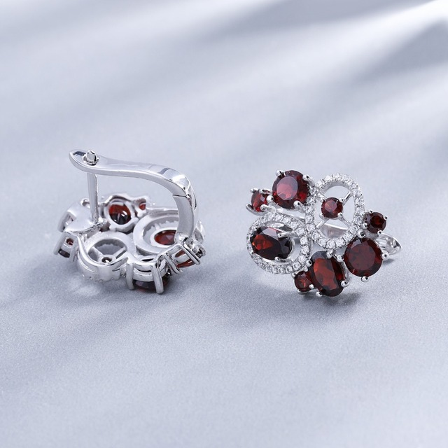 GEM'S BALLET 6.23Ct Natural Garnet Gemstone Flower Stud Earrings  925 Sterling Silver Fine Jewelry For Women Wedding Earrings