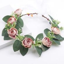 Ivory color Peony Rose Flower Crown christmas party Head Tiara Hair Floral Headband Woman Ribbon Headwrap headpiece